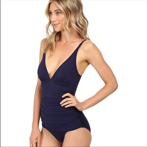 Tommy Bahama | Navy Blue Ruched One Piece Swimsuit
